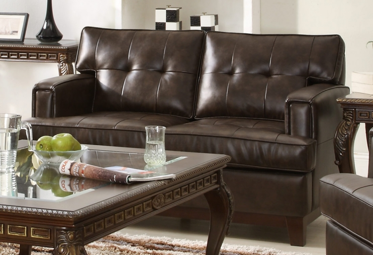 Hodley All Bonded Leather Love Seat - Brown - Homelegance