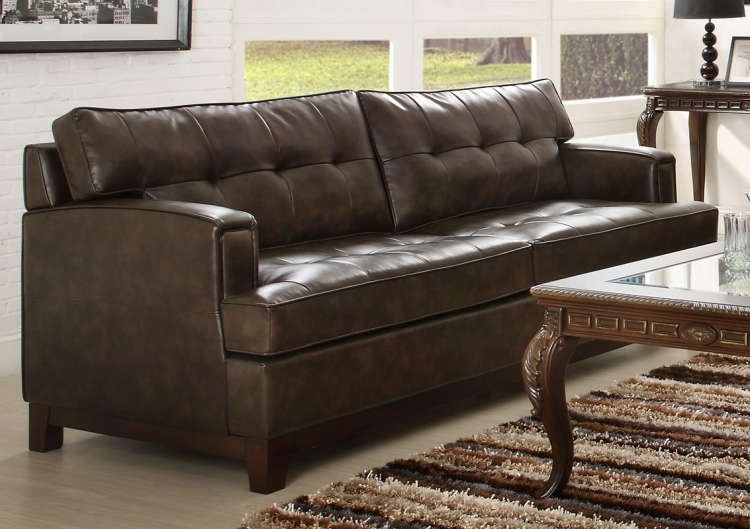 Hodley All Bonded Leather Sofa - Brown - Homelegance