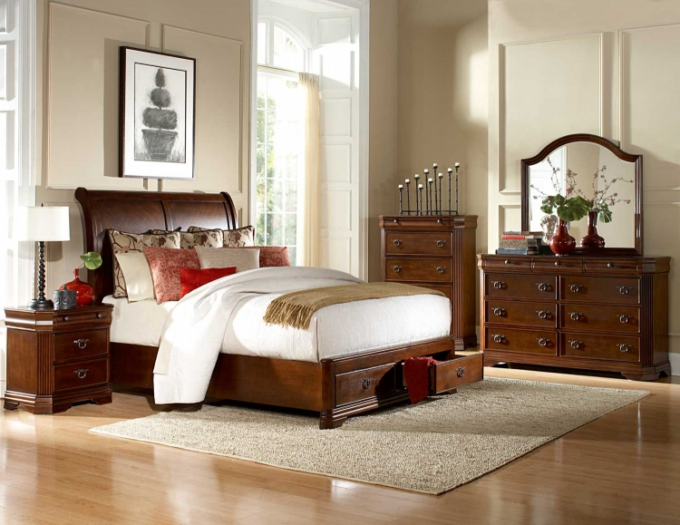 Karla Platform Bedroom Set - Brown Cherry