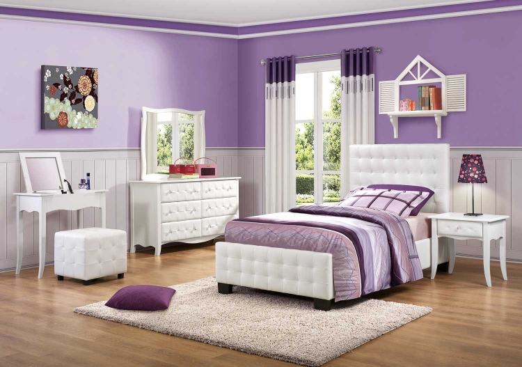 Sparkle Upholstered Bedroom Set - White - Homelegance