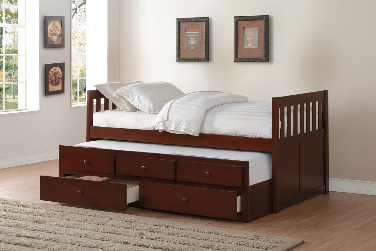 Rowe Twin Bed with Trundle and Two Storage Drawers - Dark Cherry