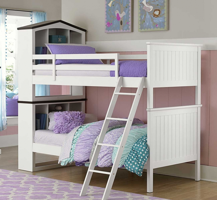 Lark Twin/Twin Bookcase Bunk Bed - White