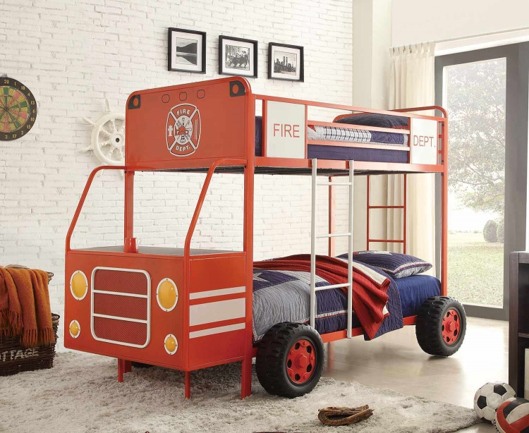 Engine One Twin/Twin Bunk Bed - Bright Red Metal