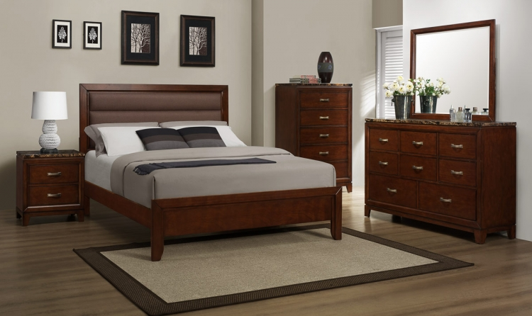 Bleeker Bedroom Set - Brown Upholstery - Homelegance