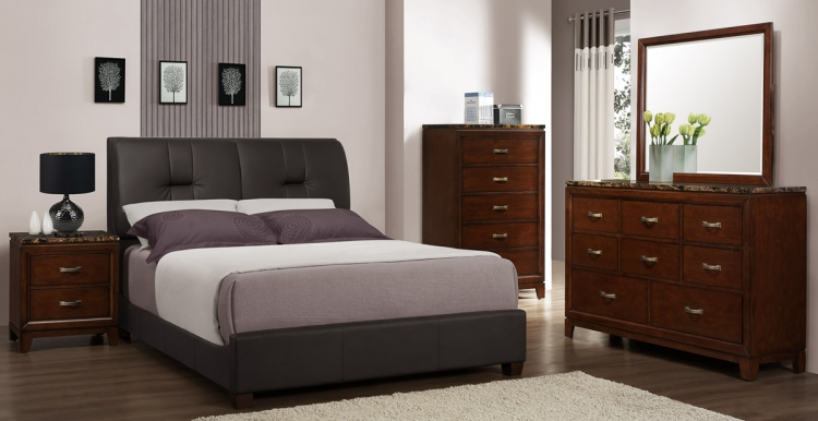 Ottowa Bedroom Set - Dark Brown Leatherette