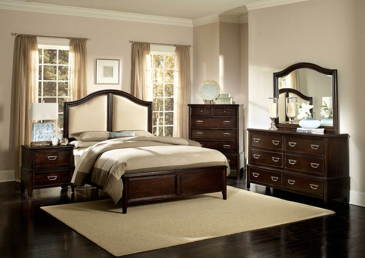 Beaux Low Profile Bedroom Set with Linen Fabric Insert - Dark Cherry
