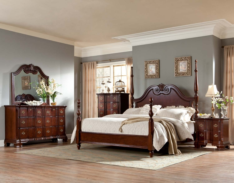 Guilford Poster Bedroom Set - Brown Cherry - Homelegance