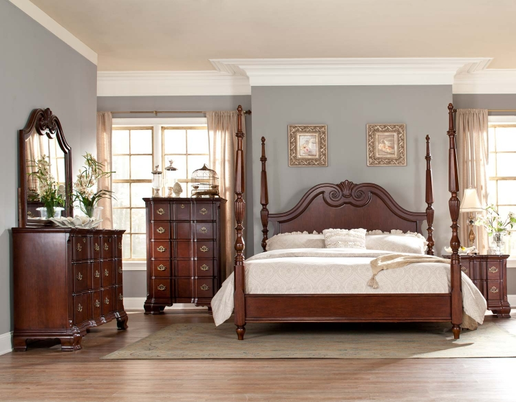 Guilford Tall Poster Bedroom Set - Brown Cherry - Homelegance