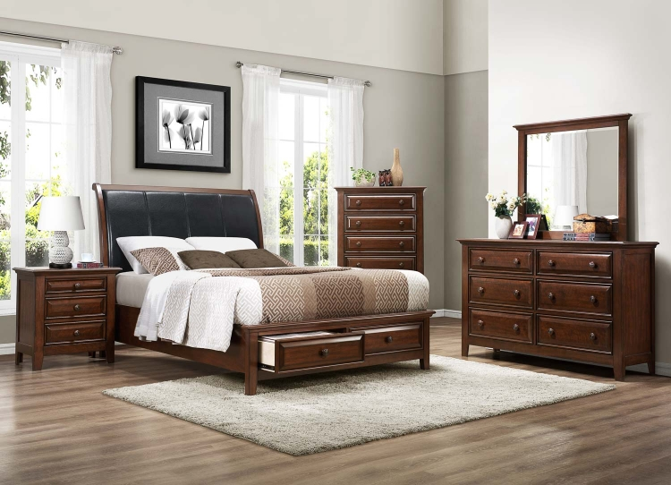 Sunderland Platform Bedroom Set - Medium Cherry