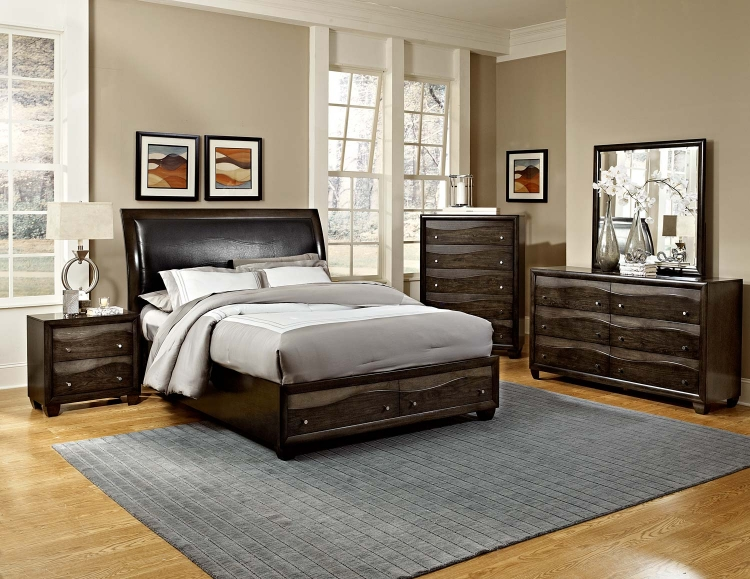 Redondo Platform Bedroom Set - Grey-toned Brown - Homelegance