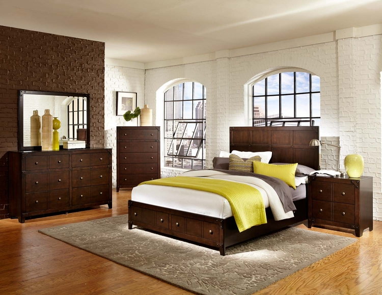 Brawley Platform Bedroom Set - Brown Cherry