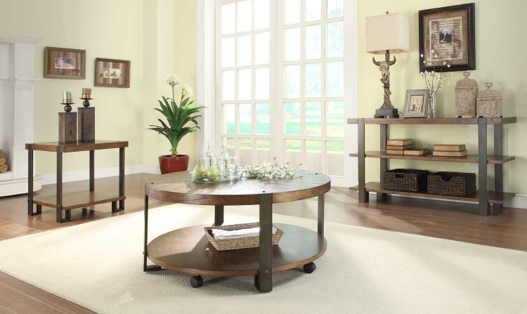 Northwood� Round Coffee Table Set - Natural Brown