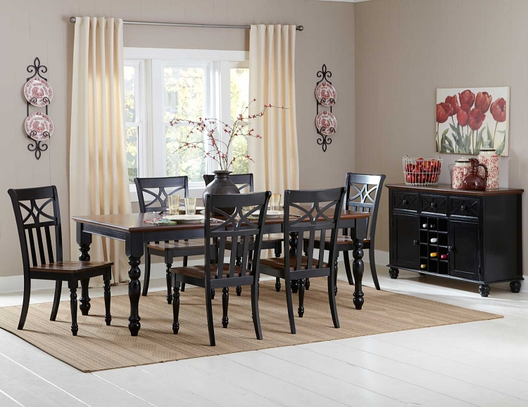 Sanibel Dining Set - Cherry/Black