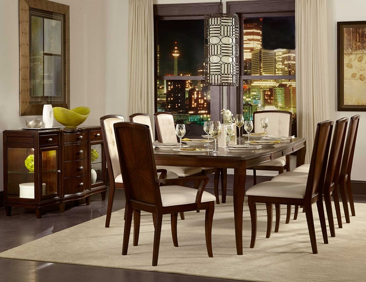 Abramo Dining Set - Sapele/Walnut Inlay