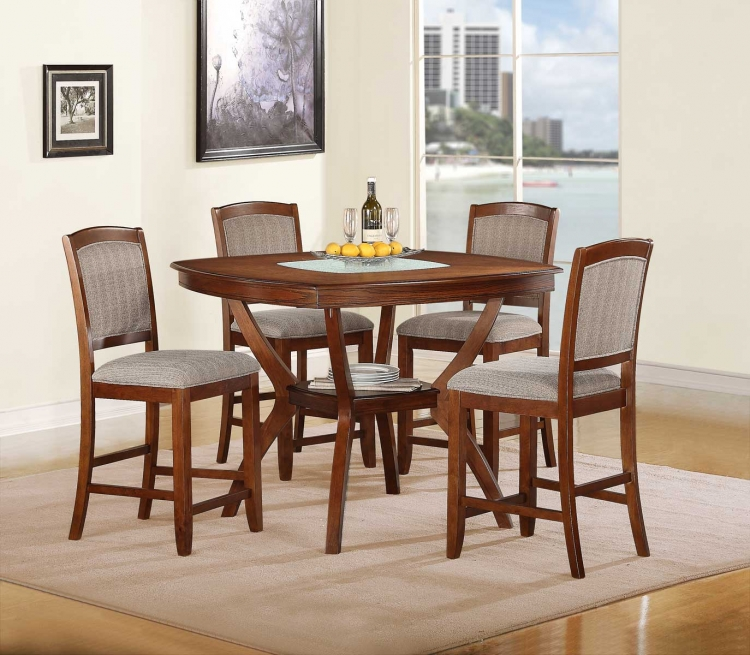 Kelly Counter Height Dining Set - Warm Walnut�