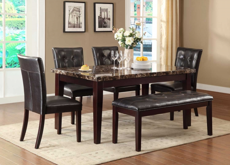 Teague Faux Marble Dining Set - Espresso�