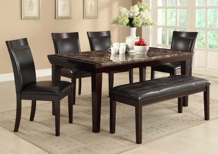 Thurston Faux Marble Dining Set - Espresso