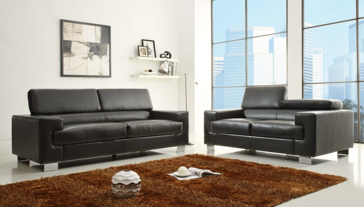 Vernon Sofa Set - Black - Bonded Leather - Homelegance
