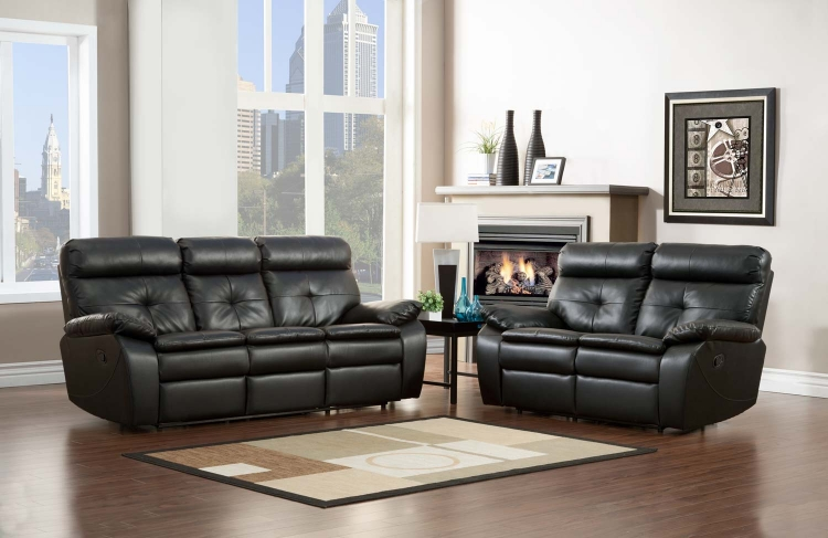 Wallace Reclining Sofa Set - Black - Bonded Leather Match - Homelegance