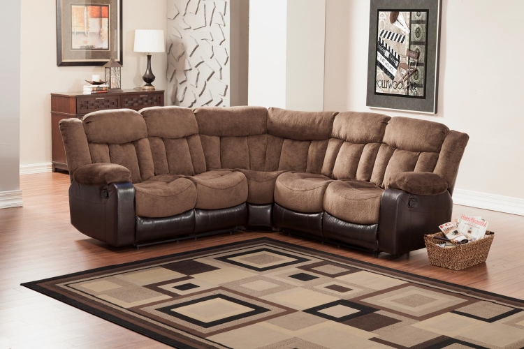 Vera Reclining Sectional Sofa - Chocolate - Textured Plush Microfiber & Bi-Cast Vinyl - Homelegance