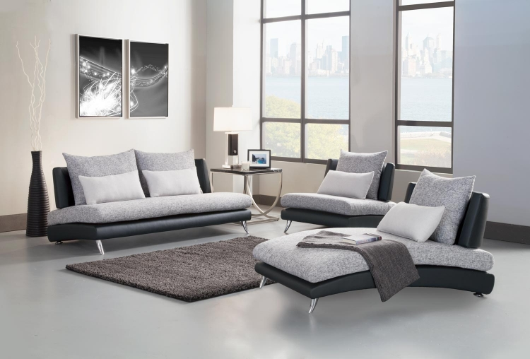 Renton Sofa Set - Grey/Black - Polyester & Bi-Cast Vinyl