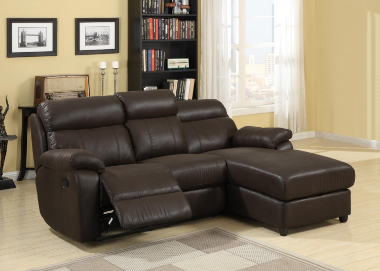Gaines Sectional Sofa - Brown - Bomber Jacket Microfiber� - Homelegance