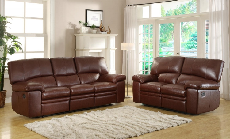 Kendrick Reclining Sofa Set - Brown - Bonded Leather Match - Homelegance