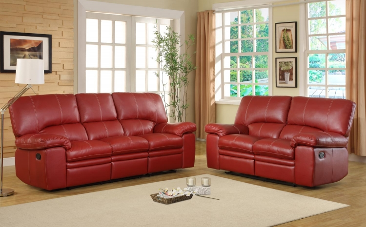 Kendrick Reclining Sofa Set - Red - Bonded Leather Match - Homelegance
