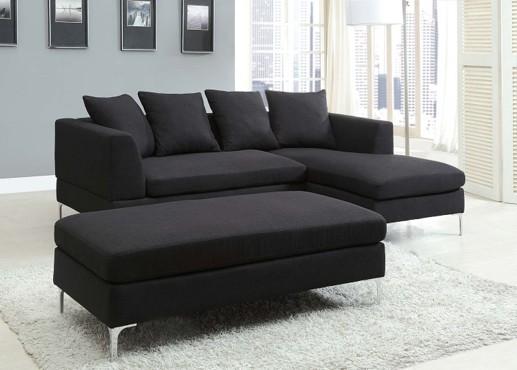 Zola Sectional Sofa Set - Black - Linen-Like Fabric