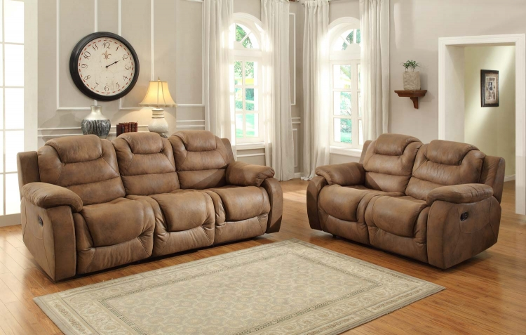 Hoyt Reclining Sofa Set - Brown Microfiber - Homelegance