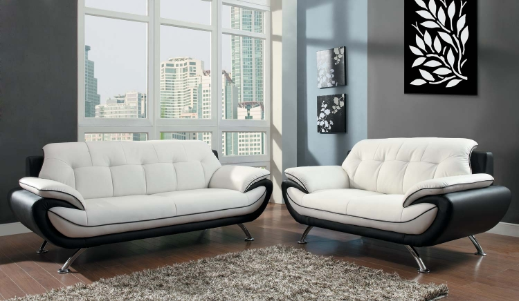 Elroy Sofa Set - Black and White - Bi-Cast Vinyl - Homelegance