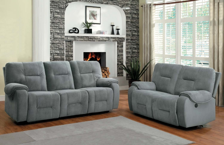 Bensonhurst Power Reclining Sofa Set - Blue Grey - Textured Micro Fiber - Homelegance