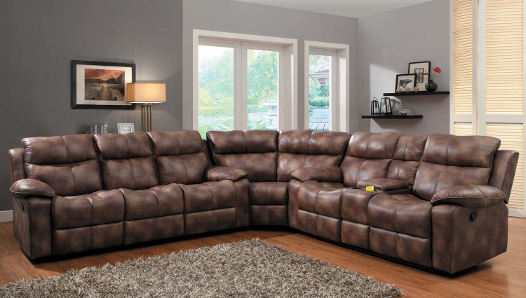Brooklyn Heights Reclining Sectional Sofa Set - Polished Microfiber - Homelegance