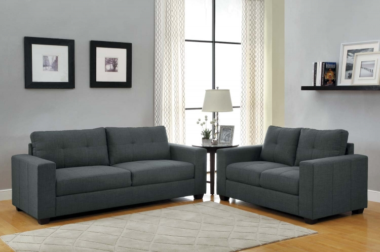 Ashmont Sofa Set - Dark Grey - Linen - Homelegance