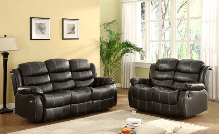 Smithee Reclining Sofa Set - Black - Bonded Leather Match - Homelegance