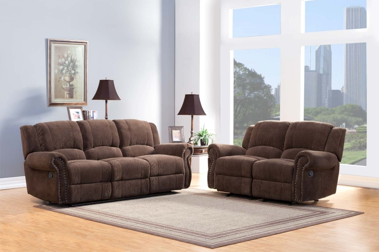 Quinn Reclining Sofa Set - Chocolate� - Homelegance