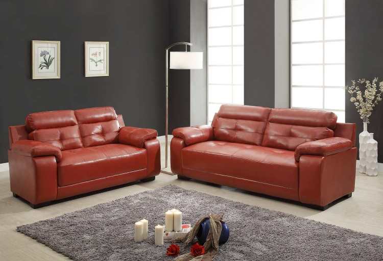 Zane Sofa Set - Red - All Bonded Leather