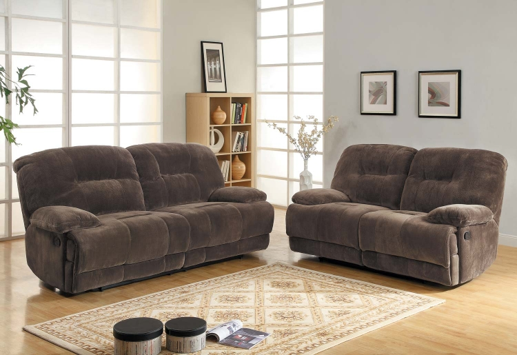 Geoffrey Reclining Sofa Set - Chocolate� - Textured Plush Microfiber - Homelegance