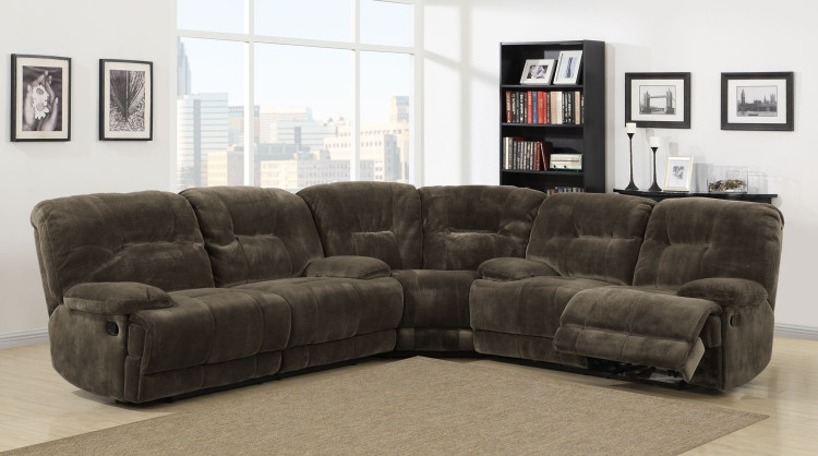 Geoffrey Power Reclining Sectional Sofa Set - Chocolate - Textured Plush Microfiber