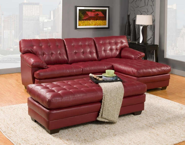 Brooks Sectional Sofa Set - Red - Bonded Leather