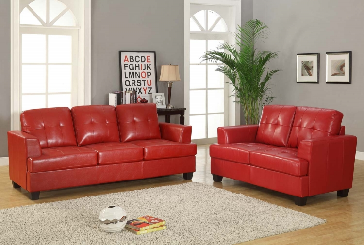 Keaton Sofa Set - Red - Bonded Leather Match - Homelegance