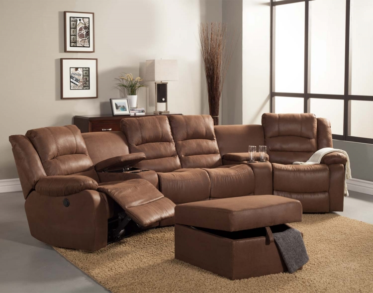 Tucker Sectional Sofa Set - Brown� - Bomber Jacket Microfiber - Homelegance