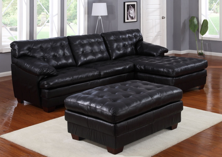 9817 All Leather Sectional Sofa Set - Black - Homelegance