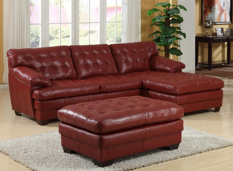 9817 All Leather Sectional Sofa Set - Red - Homelegance
