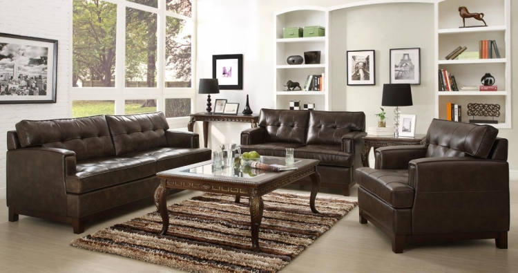 Hodley All Bonded Leather Sofa Set - Brown - Homelegance