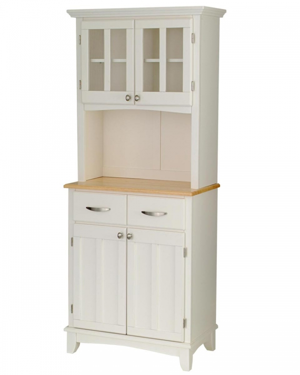 Buffet of Buffet with Wood Top and Hutch - White