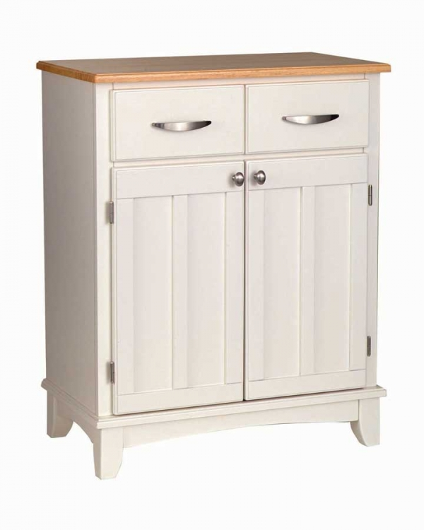 White-Natural Wood Top Buffet