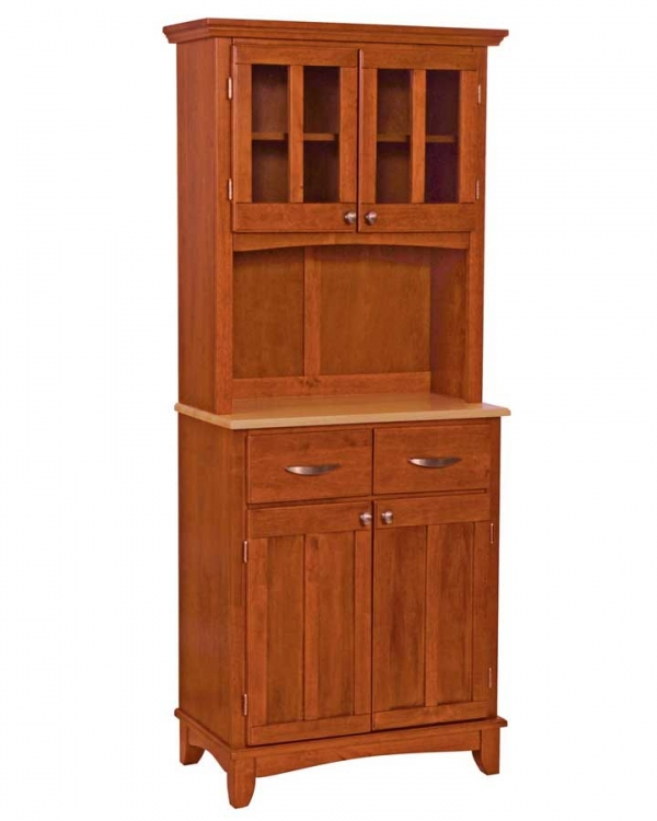 Cottage Oak-Natural Wood Top Buffet with Glass Door Hutch