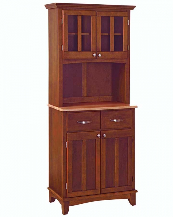 Cherry-Natural Wood Top Buffet with Glass Door Hutch - Home Styles