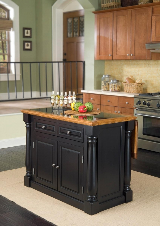 Monarch Black and Island Granite Top - Distressed Oak